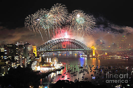 Syney Harbour New Years Eve  Fireworks #1 by Philip Johnson