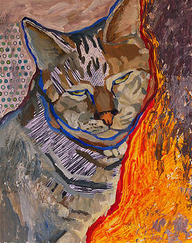 Tabby Cat Dozing by Yvonne Gaudet
