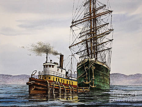 Tall Ship Tugboat Assist by James Williamson