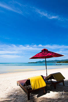 Fototrav Print - Tanning beds on a tropical beach Koh samui Thailand
