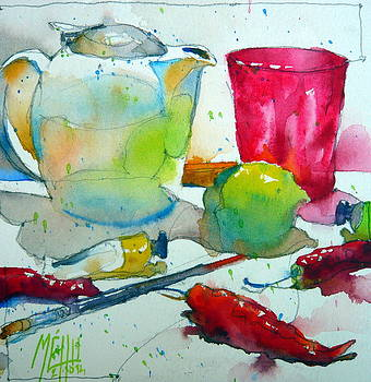 Tea pot and pink glass by Andre MEHU