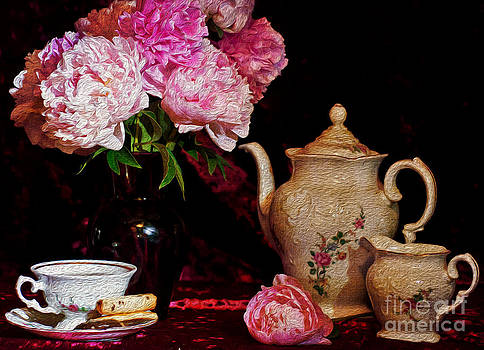 Tea Time and Peonies by Julie Palyswiat