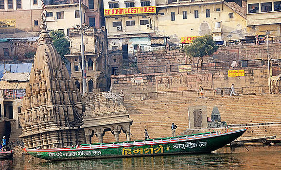Temple on Boat by Money Sharma