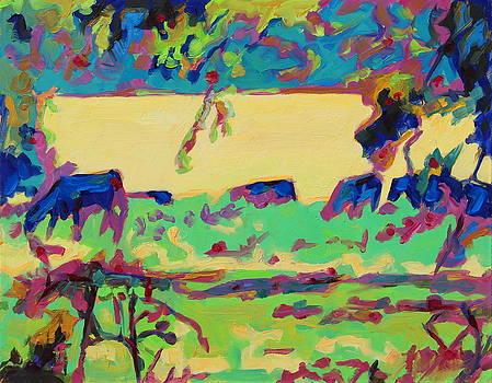 Texas Cows Grazing Landscape by Bertram Poole by Thomas Bertram POOLE