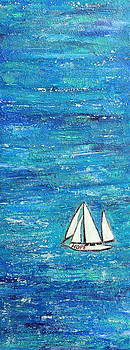 Textured sea with sailboat by Lauretta Curtis