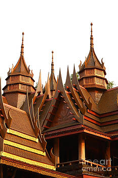 Thai style house and temple by Pakorn Kitpaiboolwat