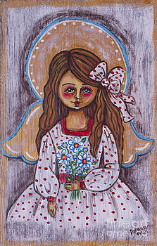 The angelic girl with the flowers by Iwona Fafara-Pilch