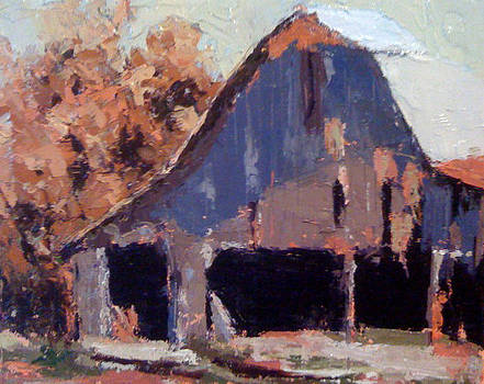 The Barn in October by Sylvia Miller