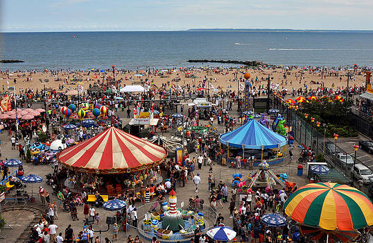 The beach of Coney Island from the Wonder Wheel by Diane Lent