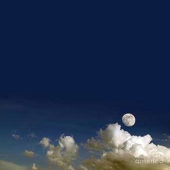 The beautiful sky with clouds and moon. by Khomkrit Chunsakul