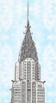 The Chrysler Building in Fractal Clouds by Ricardo  De Almeida