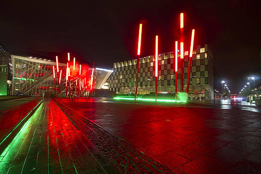 The colorful Bord Gais Energy Theatre on a rainy night by Sven Brogren