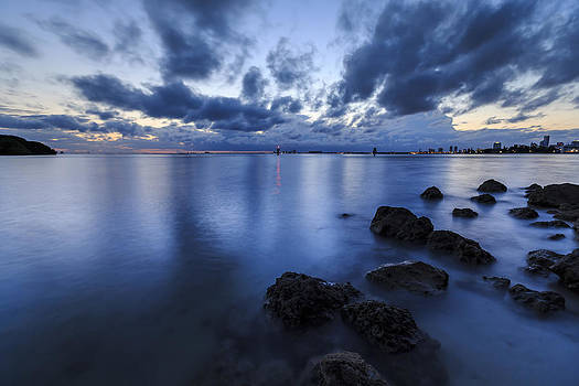 The Colors Of Twilight And Sunset In Key Biscayne Bay by Alex Galiano