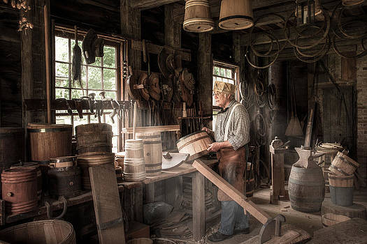 The Cooper - 19th Century Artisan in his Workshop  by Gary Heller