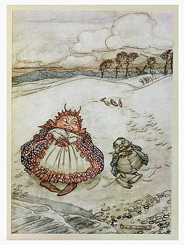 Arthur Rackham - The Crab And His Mother, Illustration From Aesops Fables, Published By Heinemann, 1912 Colour Litho