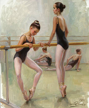 The Dancers Practicing at Barre by Serguei Zlenko