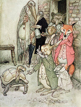 Arthur Rackham - The Hare And The Tortoise, Illustration From Aesops Fables, Published By Heinemann, 1912 Colour