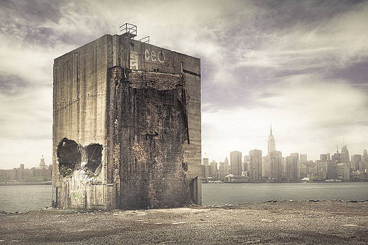 Apocalypse Brooklyn Waterfront - Brooklyn Ruins and New York Skyline by Gary Heller