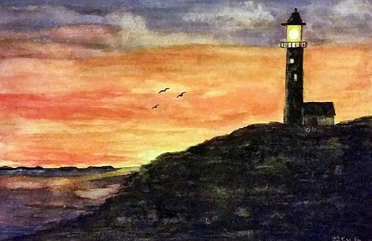 The Lighthouse At Dusk by Gerry Smith