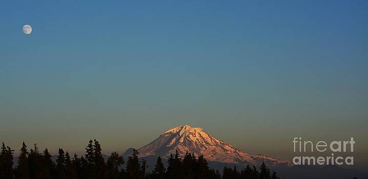 The Moon and Mt. Rainier by Gayle Swigart
