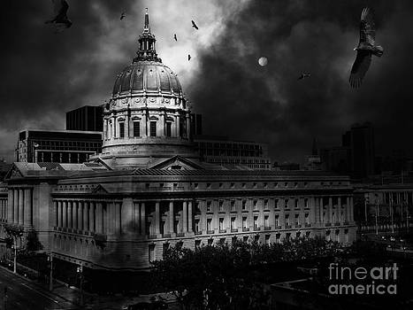 Wingsdomain Art and Photography - The Night The Vultures Returned To San Francisco City Hall 5D22510 Black and White