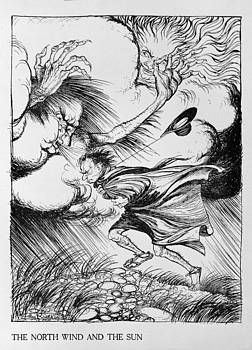 Arthur Rackham - The North Wind And The Sun, Illustration From Aesops Fables, Published By Heinemann, 1912 Colour