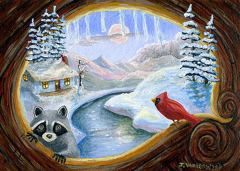 The Raccoon and the Cardinal by Jacquelin Vanderwood