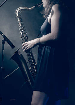 The Saxophonist Sounds In The Night by Bob Orsillo