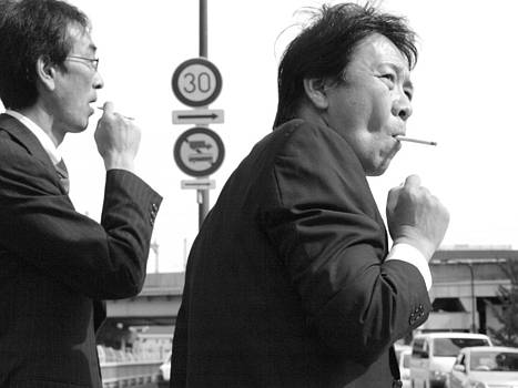 The smokers in Sendai Japan by King Wells