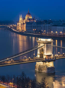 The Szechenyi Chain Bridge and The Hungarian Parliament Building  by Ayhan Altun