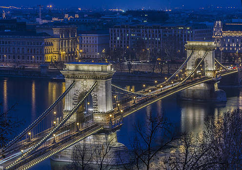 The Szechenyi Chain Bridge in Budapest in Hungary by Ayhan Altun