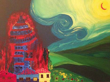 The Village on Fire by Tania  Katzouraki
