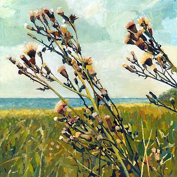 Thistles on the Beach - Oil by Michelle Calkins