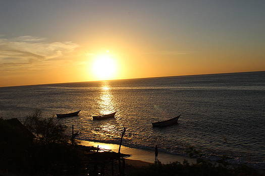 Three Boats On Sunset by Mark Perez