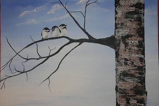 Three Chickadees by Donna Jeanne  Carver