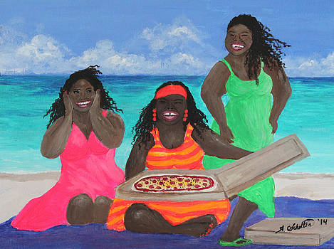 Three Girls on the Beach with a Pizza by Amy Scholten
