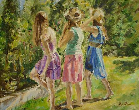 Three Graces Picking Berries by Veronica Coulston