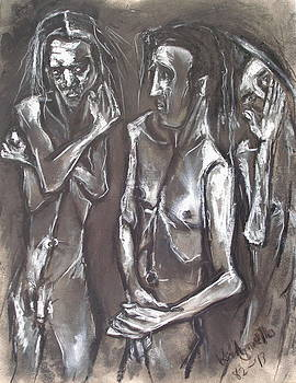 Three Men Standing by Kenneth Agnello