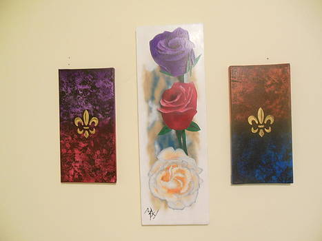 Three Roses and Fleur De Lis by Michael Hall