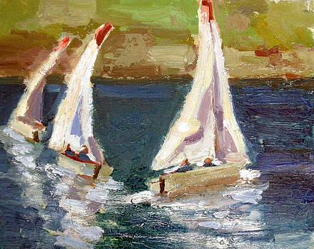 Three Sailboats by Nancy LaMay