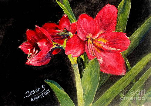 Three Stalks Of Lilies Blooming by Jason Sentuf