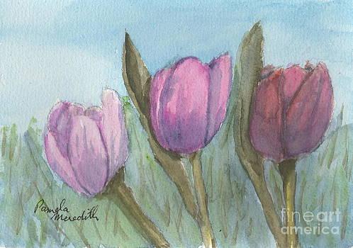 Three Tulips  by Pamela  Meredith