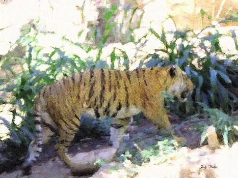 Tiger in Crayon by Judy  Waller