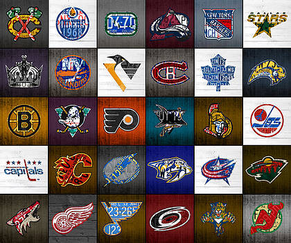 Time to Lace Up the Skates Recycled Vintage Hockey League Team Logos License Plate Art by Design Turnpike