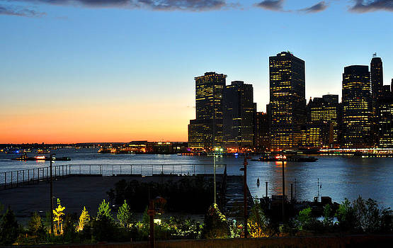 Tip of Manhattan at sunset by Diane Lent