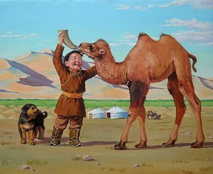 To feeding my baby camel by Tsogbayar Chuluunbaatar