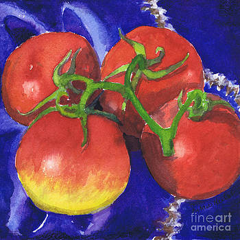 Tomatoes on Blue Tile by Susan Herbst