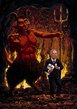 Martin Davey - Tony Blair in Hell with Devil and holding Weapons of Mass Destruction document