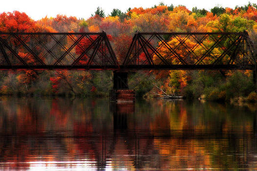 Train Bridge and Autumn Reflections by Sarah Yost