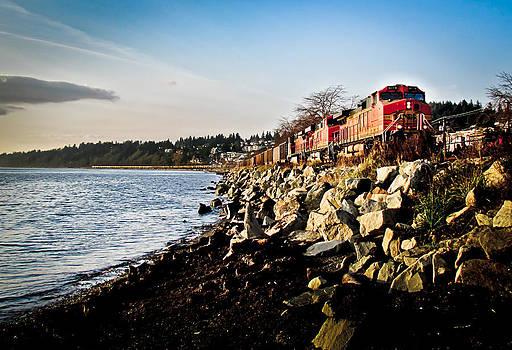 Train Speeding Through Whiterock by Eva Kondzialkiewicz